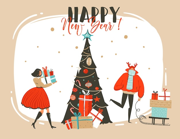 Hand drawn abstract fun merry christmas time cartoon illustration