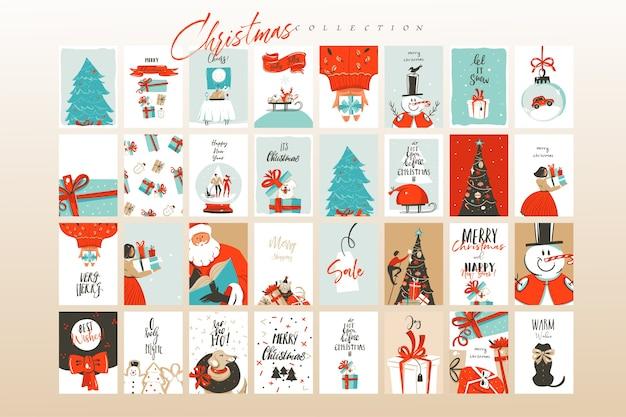 手描きの抽象的な楽しいメリークリスマスの時間漫画イラストグリーティングカードテンプレートと背景大きなコレクションセットギフトボックス、人々と白い背景で隔離のクリスマスツリー