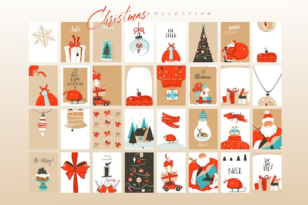 Hand drawn abstract fun merry christmas time cartoon illustrations greeting cards template and backgrounds big collection set isolated on white background.