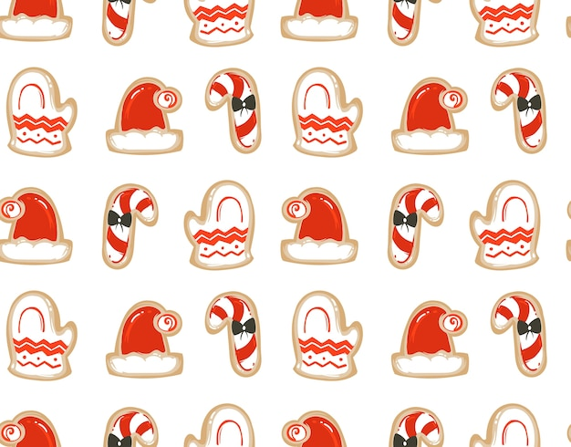 手描きの抽象的な楽しいメリークリスマスの時間の漫画イラストは、白い背景で隔離の焼きジンジャーブレッドクッキーとシームレスなパターン。