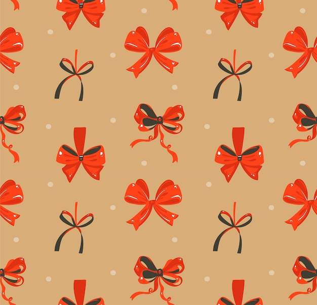 Hand drawn abstract fun merry christmas time cartoon rustic festive seamless pattern