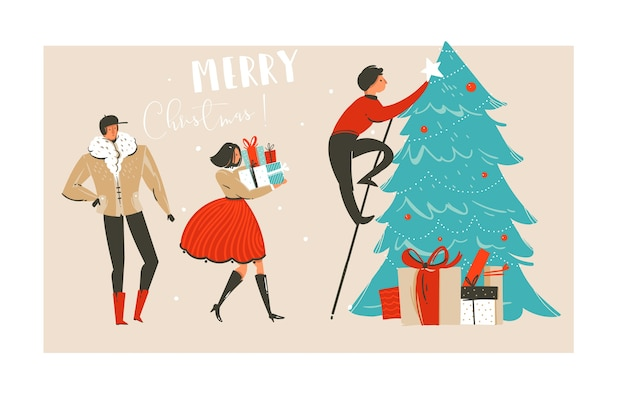 Hand drawn abstract fun merry christmas time illustration greeting card with group of people,many surprise gifts boxes and christmas tree isolated on craft paper background.