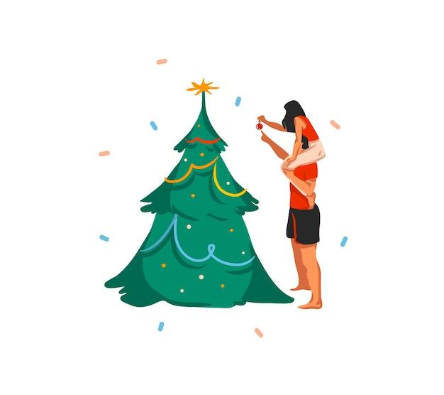 손으로 그린 추상 재미 주식 평면 메리 크리스마스와 행복 한 새 해 만화 축제 카드 크리스마스 커플의 귀여운 일러스트와 함께 흰색 배경에 고립 된 나무에 장난감을 걸어.