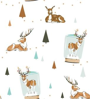 手描きの抽象的な楽しいストックフラットメリークリスマス、そしてクリスマスのレトロな鹿と白い背景で隔離のトナカイのかわいいイラストと幸せな新年の時間の漫画のお祝いのシームレスなパターン。