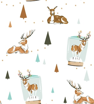 Hand drawn abstract fun stock flat merry christmas,and happy new year time cartoon festive seamless pattern with cute illustrations,of xmas retro deer and reindeer isolated on white background.