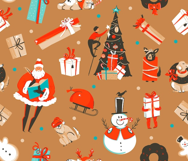 Hand drawn abstract fun stock flat merry christmas,and happy new year time cartoon festive seamless pattern with cute illustrations of xmas retro gift boxes isolated on color background.