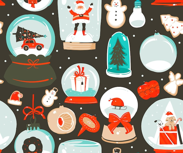 Hand drawn abstract fun stock flat merry christmas,and happy new year time cartoon festive seamless pattern with cute illustrations of xmas snow globe and santa isolated on color background.