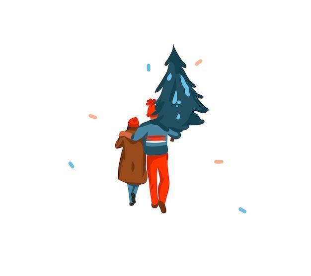 손으로 그린 추상 재미 주식 메리 크리스마스와 새해 복 많이 받으세요 만화 카드