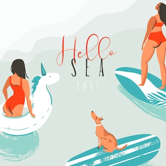 서퍼 여자, 수영 유니콘 원, 서핑 보드에 귀여운 강아지와 현대 타이포그래피 견적 귀여운 개 손으로 그린 추상 재미 여름 시간 그림 카드