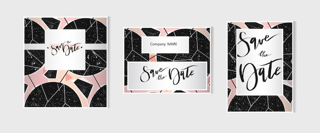 Hand drawn  abstract  geometric card save the date templates set collection.