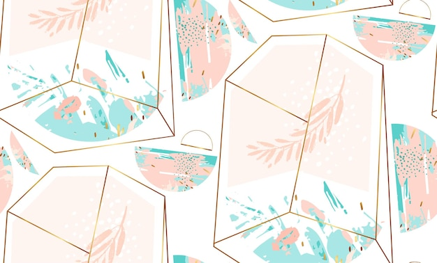 Hand drawn  abstract  geometric seamless pattern with crystal terrarium