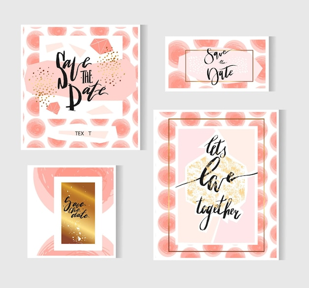 Hand drawn  abstract geometric set with save the date card template and poster
