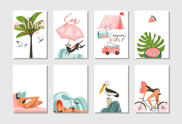 Ручной обращается абстрактный графический мультфильм летнее время плоских иллюстраций карты набор шаблонов с пляжными людьми, кемпинг и велосипед, пальмы и тропические птицы на белом фоне