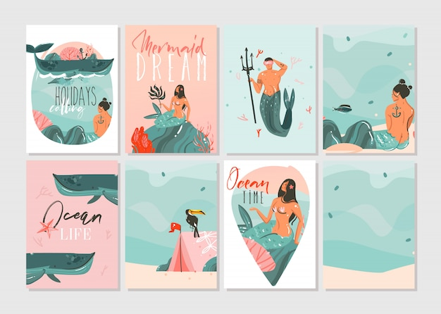 Hand drawn   abstract graphic cartoon summer time flat illustrations cards template collection set with beach people,mermaid and whale,sunset and tropical birds isolated on white background