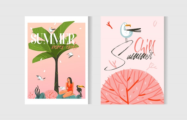 Hand drawn abstract graphic cartoon summer time flat illustrations cards template collection set with beach people,palm tree,sunset and marine coral reef isolated on white background