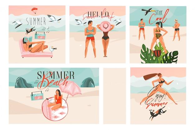Ручной обращается абстрактный графический мультфильм летнее время плоских иллюстраций карты набор шаблонов с пляжными людьми, закатом и тропическими птицами на белом фоне