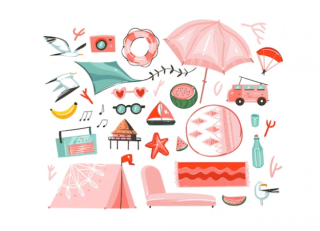 Hand drawn abstract graphic cartoon summer time flat illustrations collection set with camping tent,camper,umbrella,seagull birds,record player,carpets,beach cabin isolated on white background