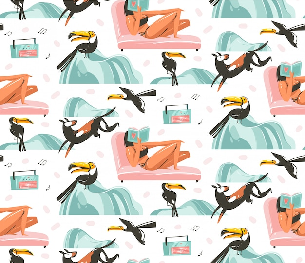 Hand drawn  abstract graphic cartoon summer time flat illustrations seamless pattern with girls characters relax on the beach with tropical toucan birds isolated on white background