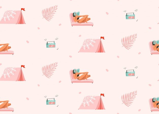 Hand drawn  abstract graphic cartoon summer time  illustrations seamless pattern with girls characters relax on the beach with camping tent and record player  on white background