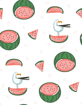 Hand drawn  abstract graphic cartoon summer time  illustrations seamless pattern with watermelons  on white background