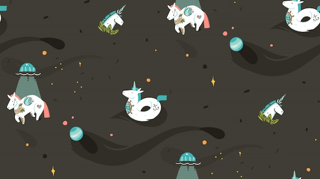 Hand drawn  abstract graphic creative cartoon illustration seamless pattern with cosmonaut unicorns with old school tattoo,unicorn float and ufo spaceship in cosmos isolated on black background