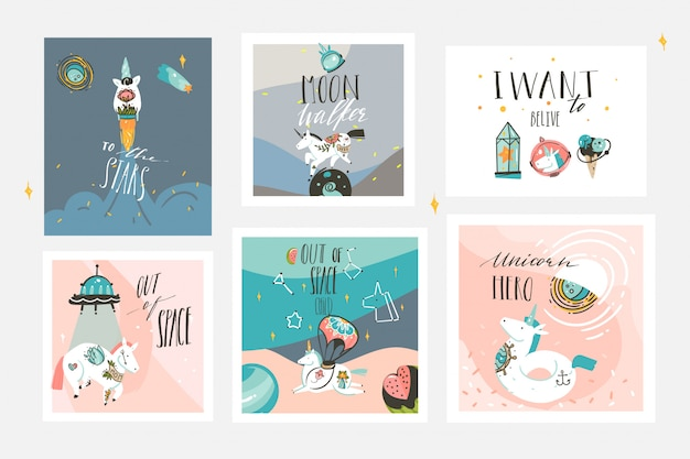 Hand drawn  abstract graphic creative cartoon illustrations cards collection set template with astronaut unicorns with old school tattoo,planets and spaceship isolated on pastel background