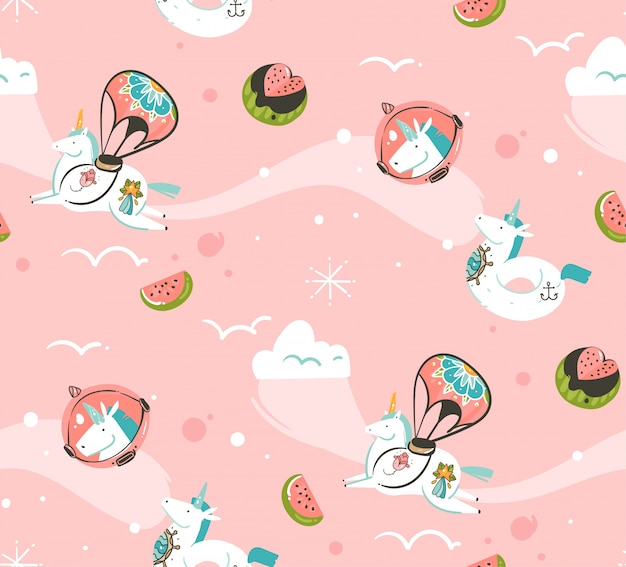 Hand drawn abstract graphic creative cartoon illustrations seamless pattern with cosmonaut unicorns with old school tattoo,comets and planets in cosmos isolated on pink background