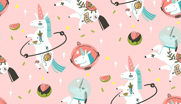 Hand drawn  abstract graphic creative cartoon illustrations seamless pattern with cosmonaut unicorns with old school tattoo and watermelon in cosmos isolated on pastel pink background