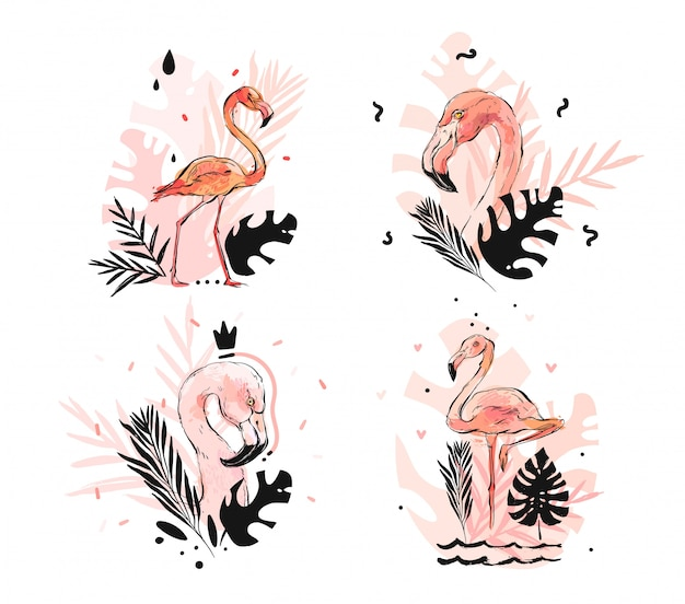 Hand drawn  abstract graphic freehand textured sketch pink flamingo and tropical palm leaves drawing illustration collection set with modern decoration elements isolated on white background
