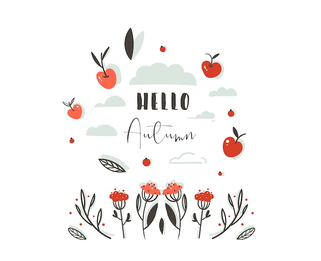 Hand drawn abstract greeting cartoon autumn graphic decoration header with set of berries,leaves,branches,apple harvest and modern typography phase hello autumn isolated on white background.