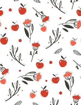 Ручной обращается абстрактное приветствие мультфильм осень графическое украшение бесшовные модели с ягодами, листьями, ветвями и урожаем яблок, изолированных на белом фоне.
