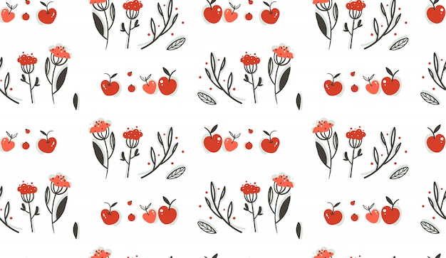 Ручной обращается абстрактное приветствие мультфильм осень графическое украшение бесшовные модели с ягодами, листьями, ветвями и урожаем яблок на белом фоне.