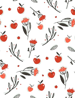 Hand drawn abstract greeting cartoon autumn graphic decoration seamless pattern with berries,leaves,branches and apple harvest isolated on white background.