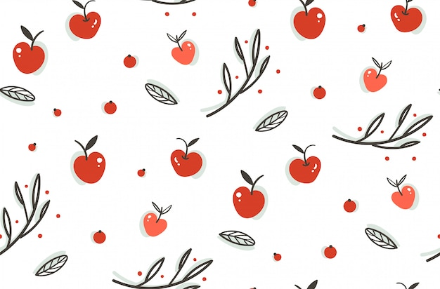 Hand drawn  abstract greeting cartoon autumn graphic decoration seamless pattern with berries,leaves,branches and apple harvest  on white background.