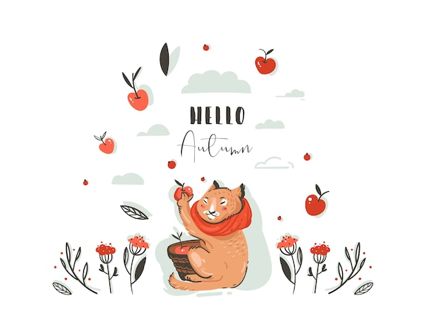 Hand drawn abstract greeting cartoon autumn illustration set with cute cat character collected apple harvest with berries,leaves,branch and typography hello autumn isolated on white background.