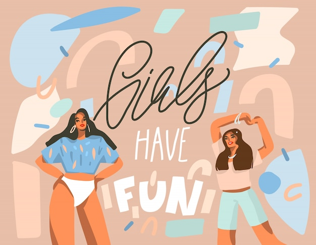 Рисованной абстрактные иллюстрации с молодыми счастливыми танцующими положительными женщинами с девушками весело провести время, рукописный текст каллиграфии на фоне пастельных коллаж