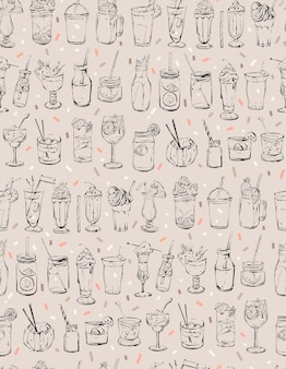 Hand drawn abstract ink graphic seamless pattern with big collection of cocktails.