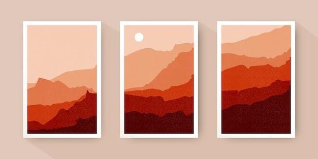 Collezione di copertine di paesaggi astratti disegnati a mano