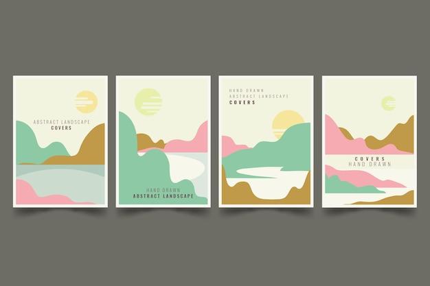 Коллекция рисованной абстрактной пейзажной обложки
