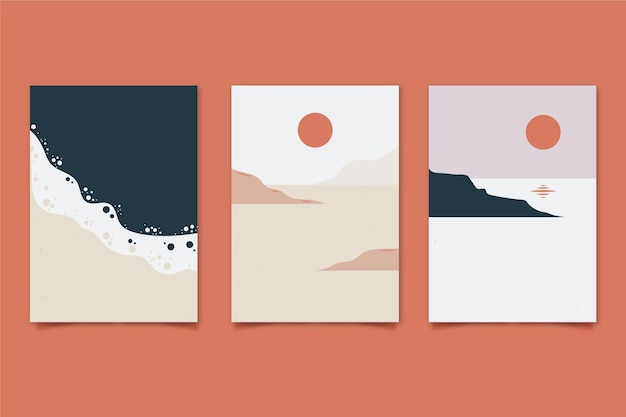 Hand drawn abstract landscape covers collection