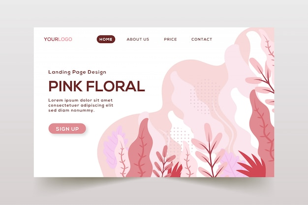 Hand drawn abstract leaves landing page
