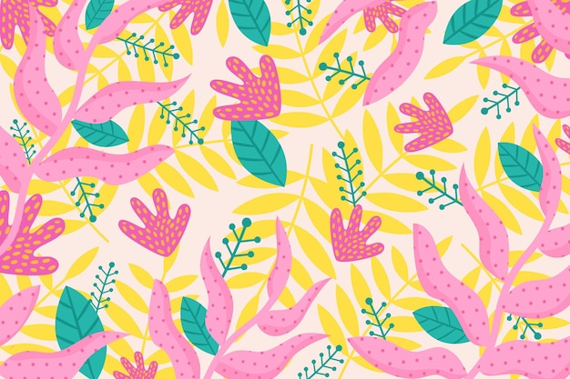 Hand drawn abstract leaves pattern design