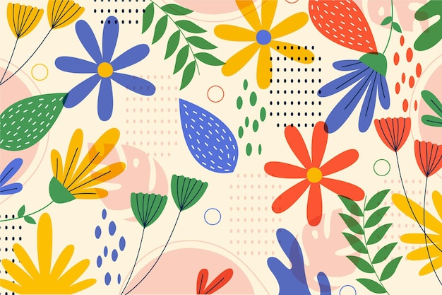 손으로 그린 초록 나뭇잎 패턴 디자인