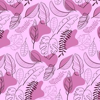 Modello di foglie astratte disegnate a mano Vettore gratuito