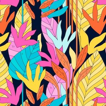 Modello di foglie astratte disegnate a mano