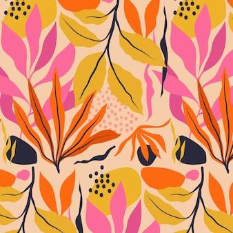손으로 그린 된 초록 나뭇잎 패턴