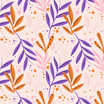 Hand drawn abstract leaves pattern