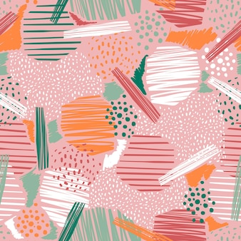 Hand drawn abstract line and paint seamless patterns vector eps10 pastel colour mood ,design for fashion , fabric, textile, wallpaper, cover, web , wrapping and all prints on pink