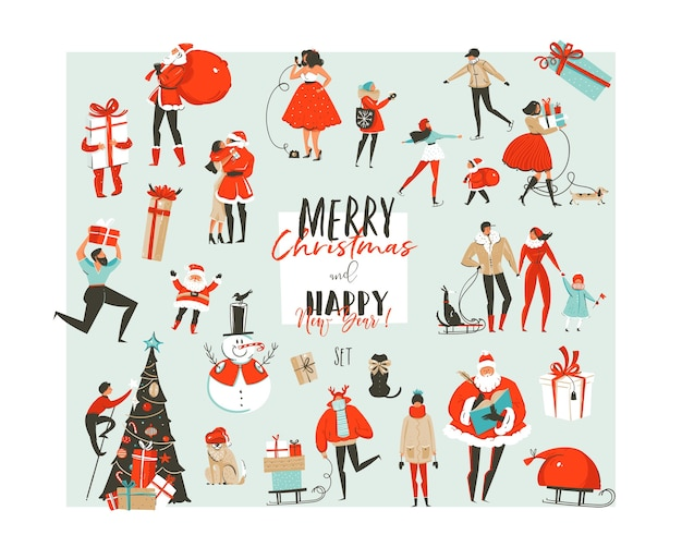 手描きの抽象的なメリークリスマスと新年あけましておめでとうございます時間の大きな漫画イラスト