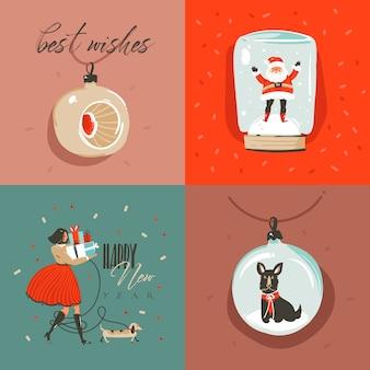 手描きの抽象的なメリークリスマスとハッピーニューイヤータイムの漫画イラストグリーティングカード、サンタクロース、クリスマスツリーのおもちゃ、人々、メリークリスマスのテキストが色付きの背景で分離